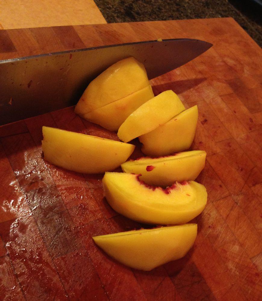slice peaches
