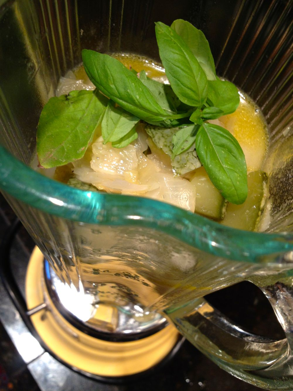 blend zucchini basil soup