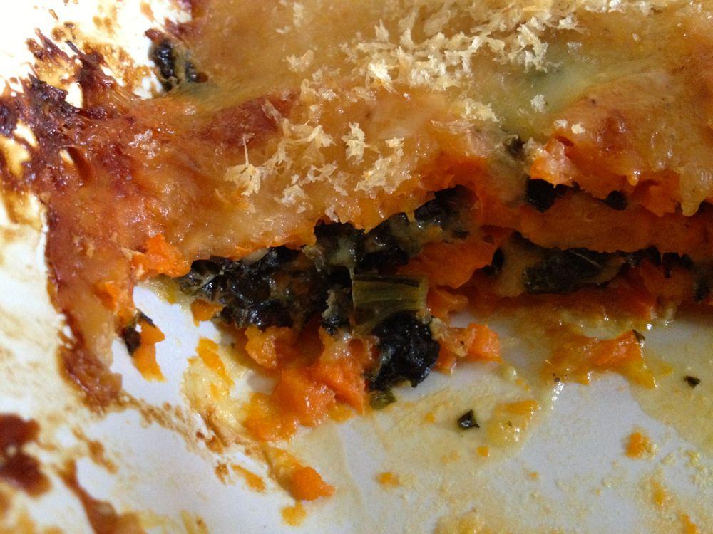 baked sweet potatoe kale gratin