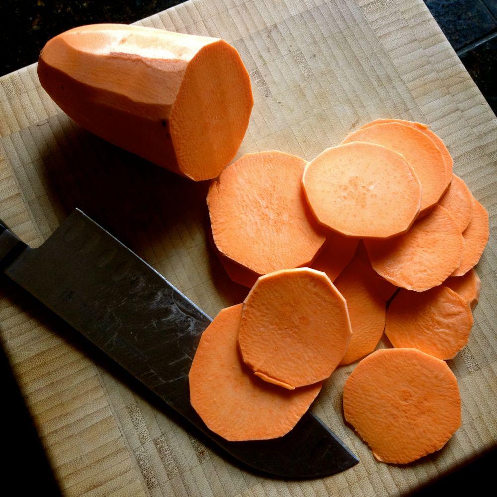 slice yams thinly