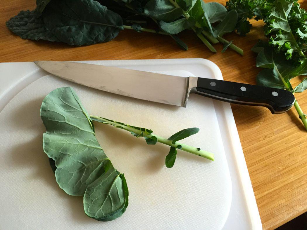 cut kale leaves