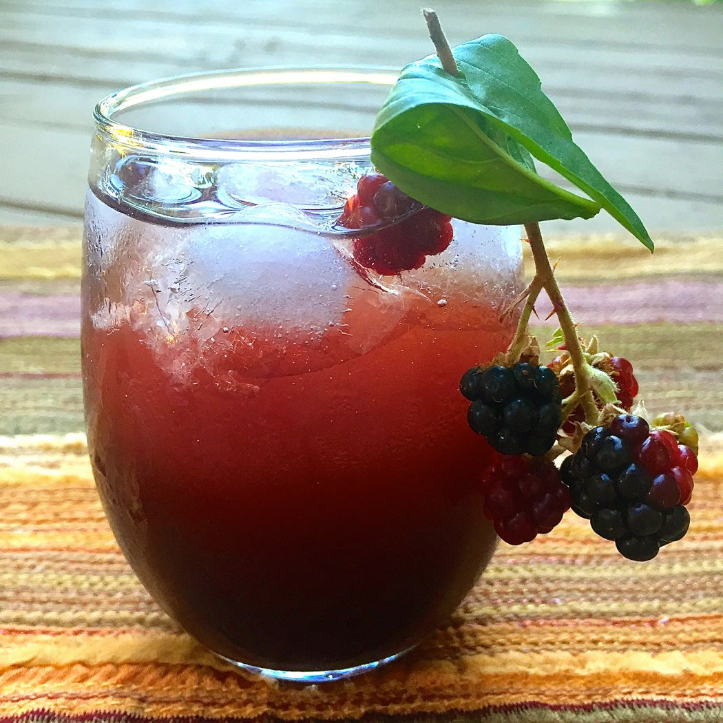 Blackberry Shrub with Basil