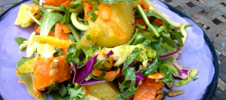 Greens Potato Salad with Orange Ginger Dressing