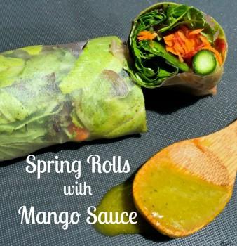 Garden Spring Rolls with Mango Sauce