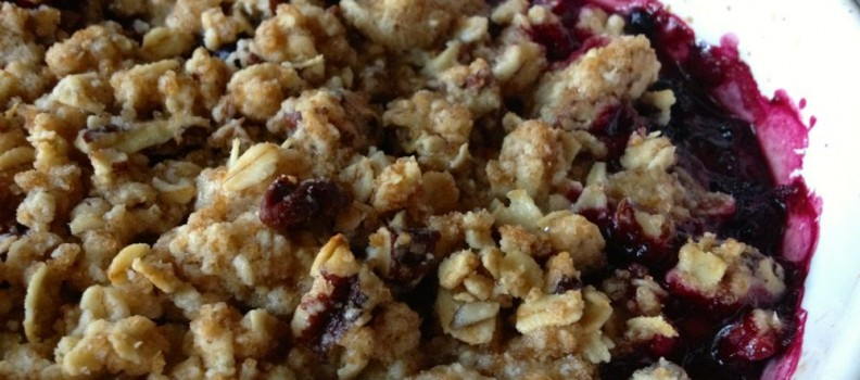 Fruit Crisp with Pears and Blackberries